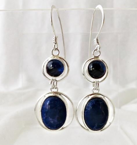 Sapphire and Lapiz Howlite Silver Earrings