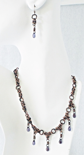 Byzantine Chainmaille and Dichroic Crystal Beads