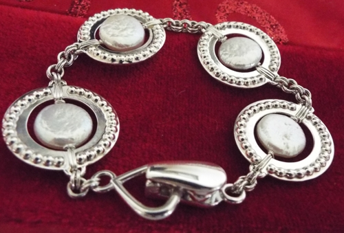 Sterling Silver and Coin Pearl Bracelet