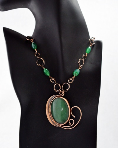 Art Nouveau Green Aventurine and Copper Necklace