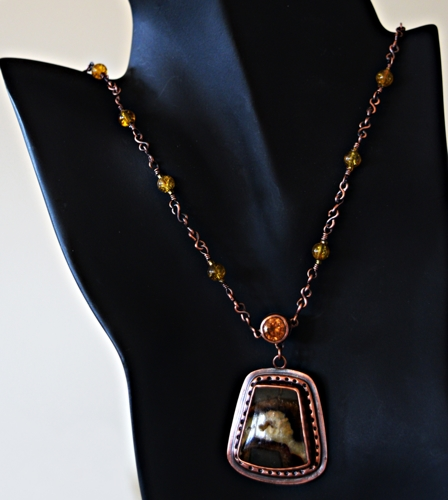 Septarian, CZ and Copper Necklace