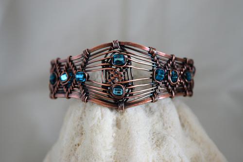 Woven Copper and Turquoise Toho Bead Bracelet