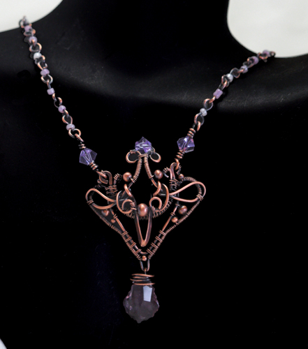 Victorian Inspired Woven Copper, Swarovski Crystals and Seed Bead Necklace