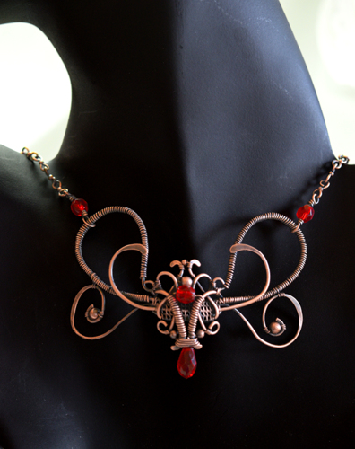 Copper Woven Wire Butterfly with Czech Crystals
