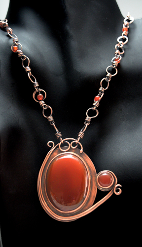 Carnelian and Wire Wrapped Copper Necklace