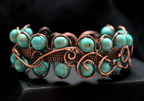 Turquoise Riverstone Wire Wrapped Bracelet