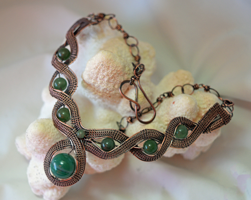 Agate and Aventurine Woven Wire Necklace