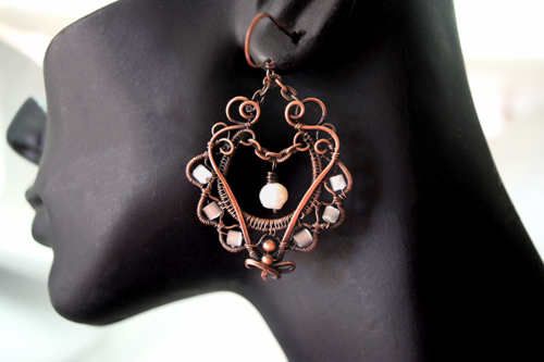 Bohemian Pearl, Glass and Copper Woven Wire Earrings