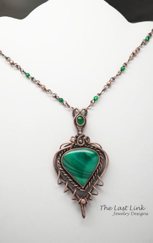 Copper, Malachite and Green Agate Art Nouveau Necklace