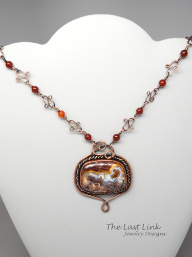 Crazy Lace Agate and Copper Necklace