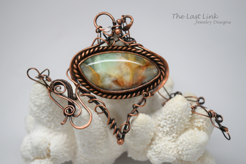 Green Quartz and Copper Art Nouveau Necklace