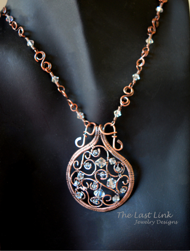 Filigree and Swarovski Crystal Woven Wire Necklace
