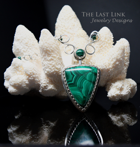Hand cut Malachite and Sterling Silver Necklace