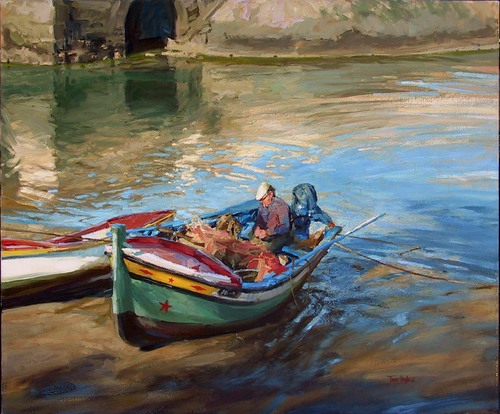 Mending nets by Tom Hughes Paintings