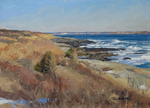 Beavertail Pt, looking toward Newport by Tom Hughes Paintings