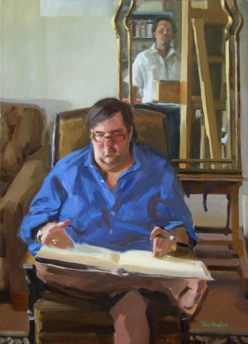 Painter and model by Tom Hughes Paintings