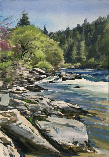 Trinity River by Tom Hughes Paintings