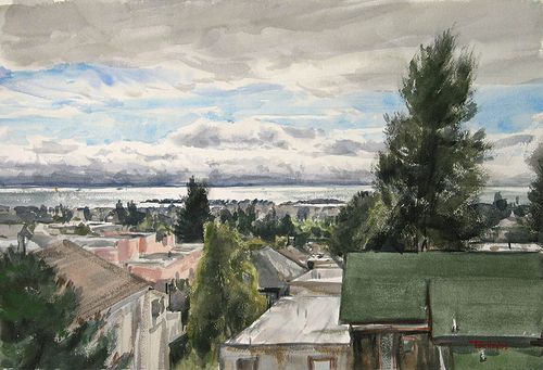 Berkeley roofs by Tom Hughes Paintings