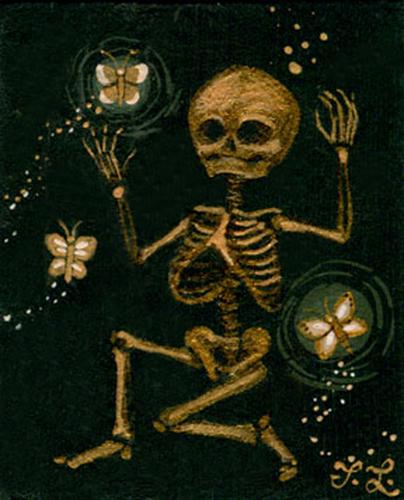 Painting-Golden Bones and Butterflies.