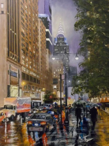 Chrysler Building On Rainy Day by TimAmesArt.com