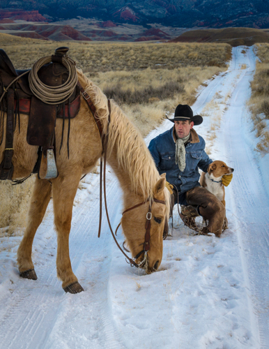 Cowboy his Dog, his Horse on the Range
