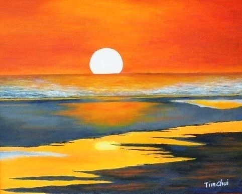 Acrylic Beach Sunset Paintings
