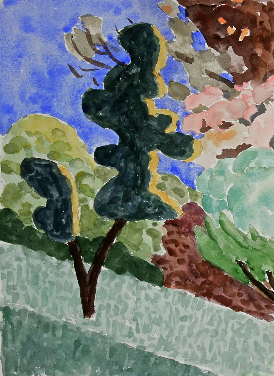 """Study for """"Trees on a Hill"""" (large view)"""