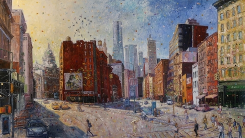 Down Bowery Street by Ted Keller New York City Oil Paintings