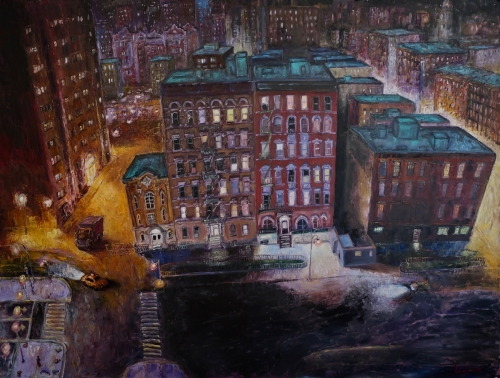 Houston Street NYC by Ted Keller New York City Oil Paintings
