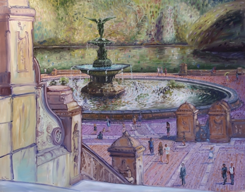 Central Park Fountain NYC by Ted Keller New York City Oil Paintings