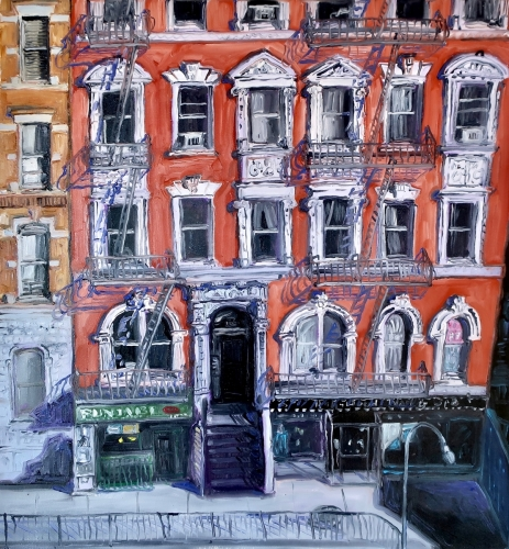 Sunny Day Houston St. NYC by Ted Keller New York City Oil Paintings
