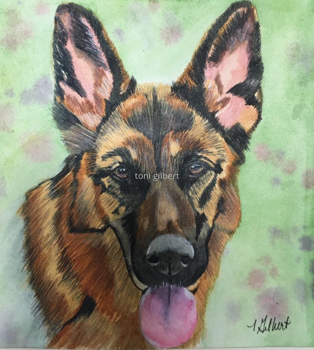 Painting German Shepherd Watertower Original Art By Toni Gilbert