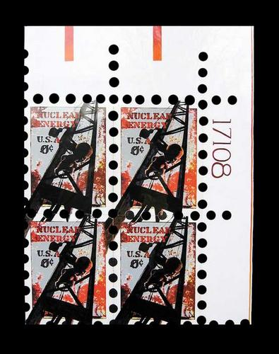 Nuclear Energy Stamp - Plate Block (large view)
