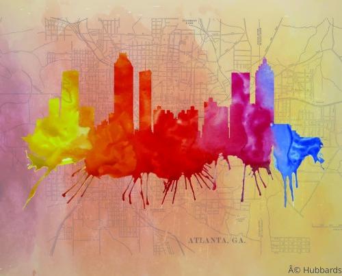 Atlanta Skyline watercolor map