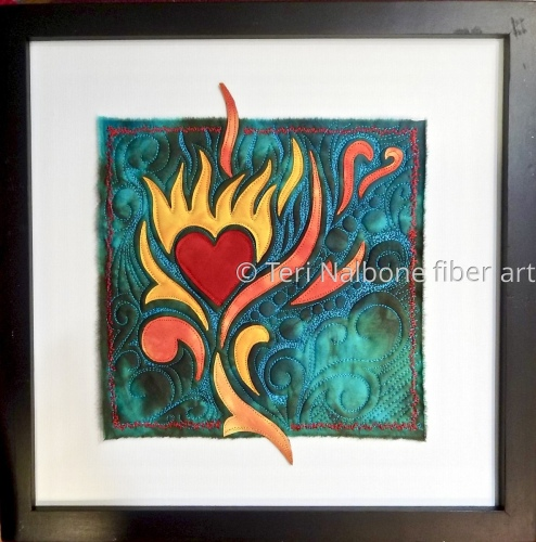 flaming heart on turquoise