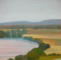 tracy baker-white, river, landscape, tress, fields, farms, mountains, berkshires, massachusetts - Landscape Painting