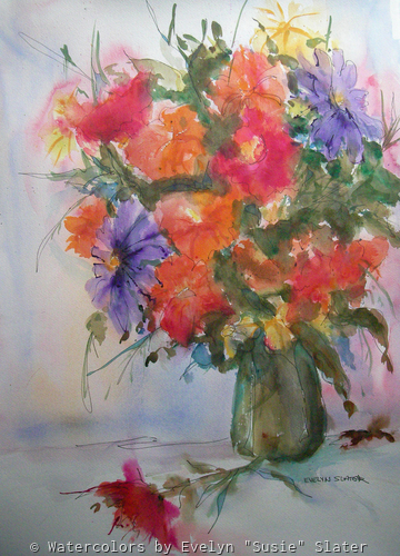 Summer Zinnias by Watercolors by Evelyn Susie Slater