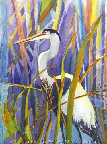 Blue Heron by Watercolors by Evelyn Susie Slater