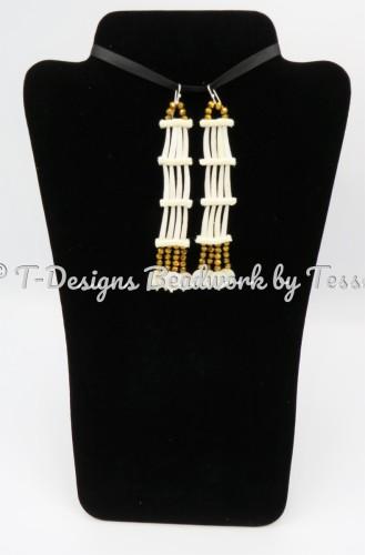 Gold Dentalium Shell Earrings by T-Designs Beadwork