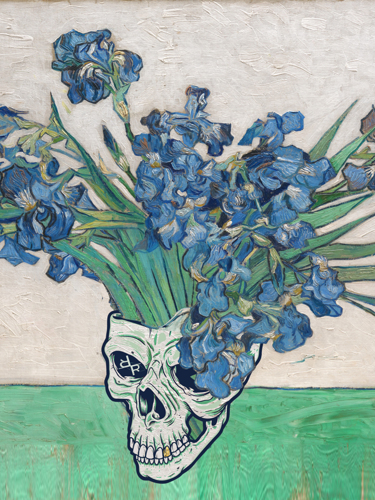 Punk van Gogh Irises Skull
