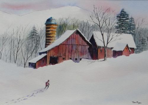 painting    u0026quot winter on the farm u0026quot   original art by tom ryan