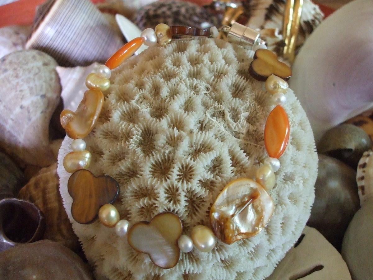 #167 Orange & Brown Mother of Pearl Bracelet (large view)