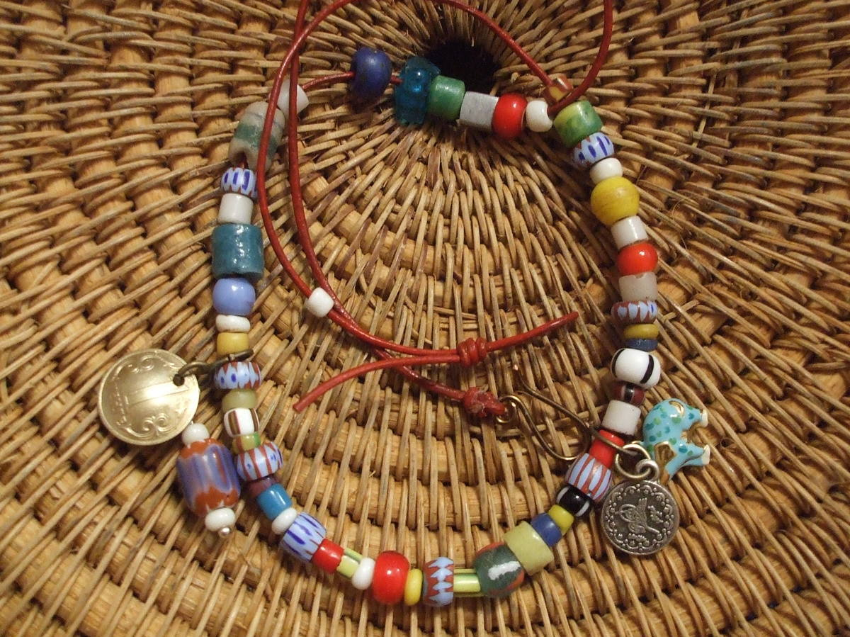 #249 African Beads Wrap Bracelet (large view)