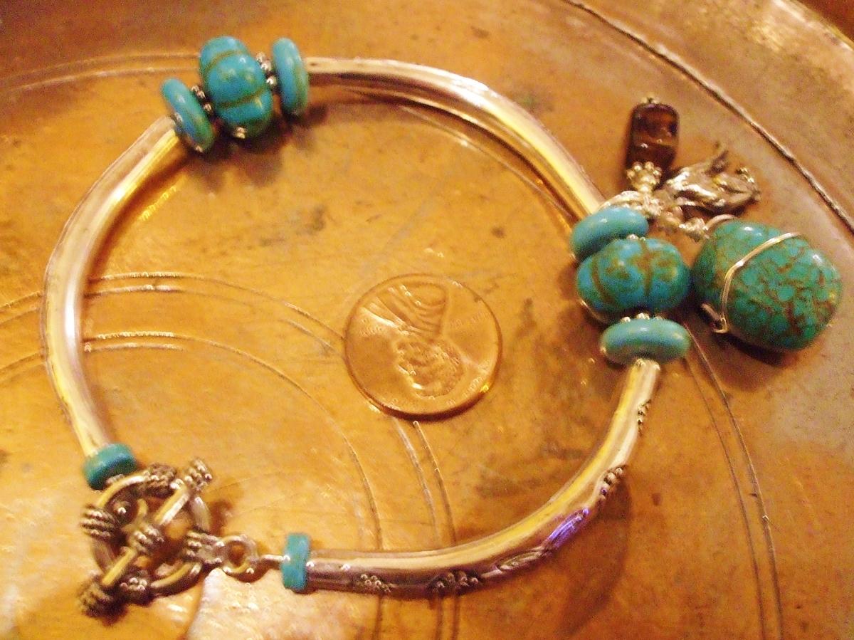 #153 Turquoise & Silver Bangle Bracelet (large view)