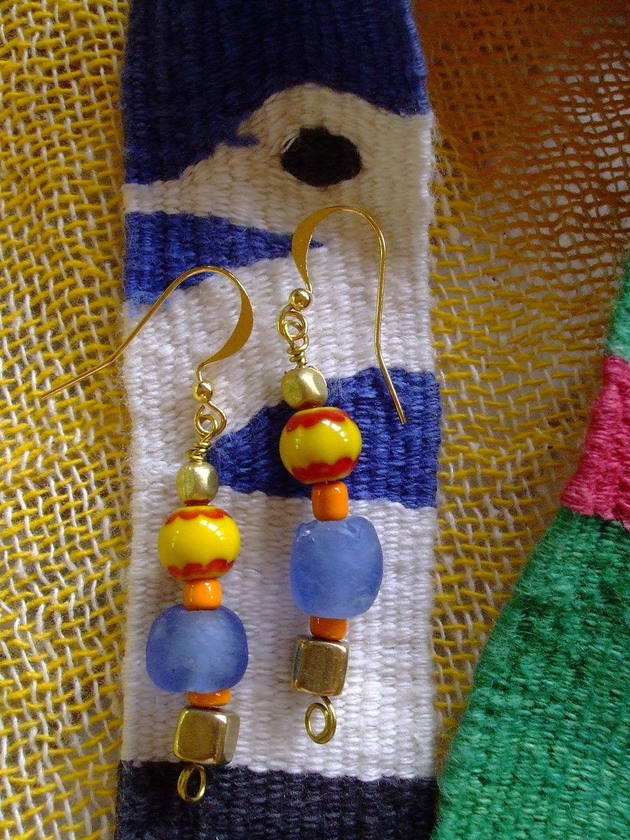 #38 Blue Recycled Glass Earrings (large view)