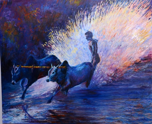 Bull Surfing  by Tahseen Khan