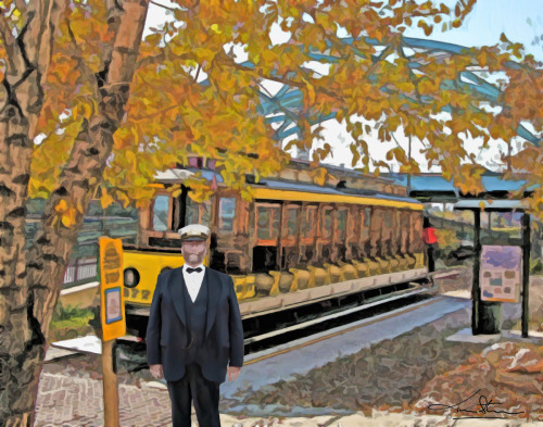 Trolley Conductor by Tom Stevens Fine Art