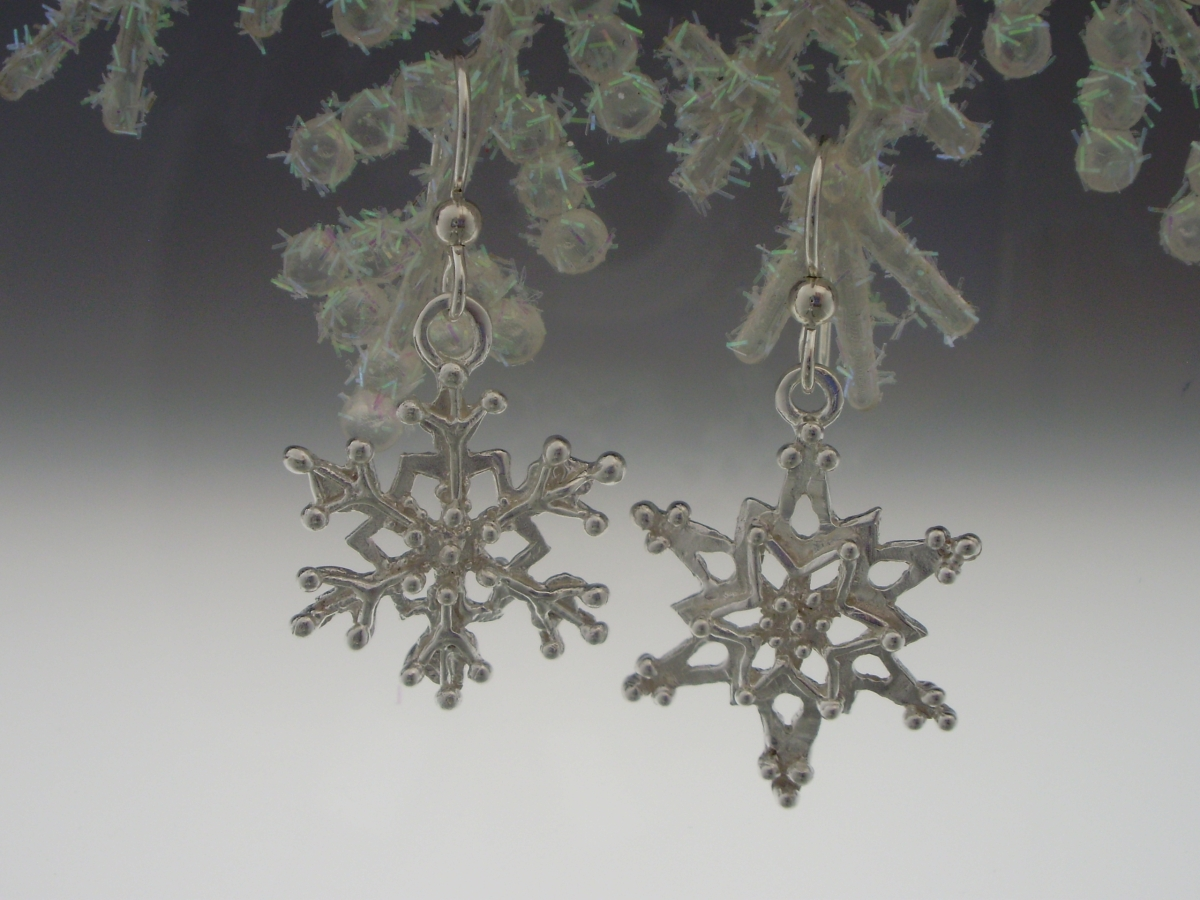 Asymmetrical Silver Snowflake Earrings (large view)