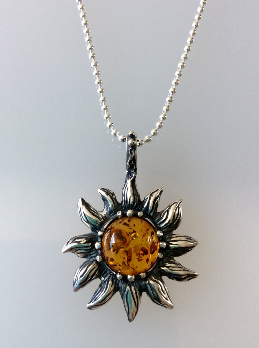 Large Sterling Silver & Baltic Amber Sun Pendant/Pendants qnMMcqcRRP