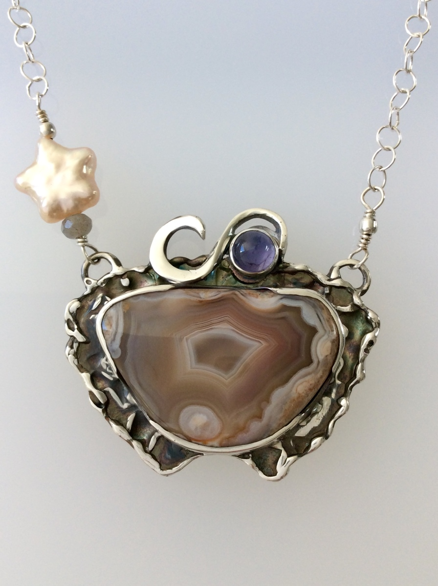 Pastel Color Lake Superior Agate and Iolite/ Sterling Silver Necklace (large view)